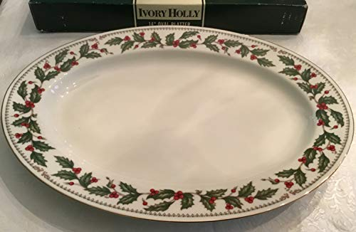 1993 Retro The Cellar Ivory Holly 14 Oval Platter 201850 in Box