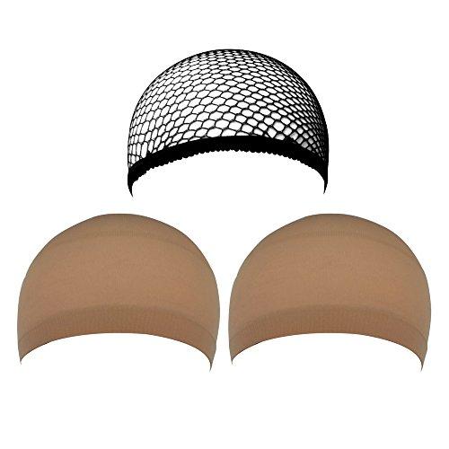 eBoot 3 Pack Wig Caps, Neutral Nude Beige and Black Mesh