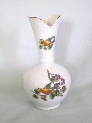 "Vintage Lefton China Hand Painted Bird Flower Bud Vase 6 1/2"""
