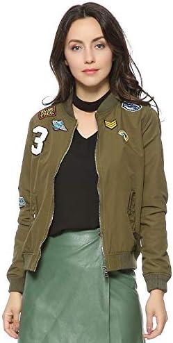 LXFWT Giacca Bomber da Donna Patch Design Giacca da Volo Manica Lunga Cappotti Casual Due Tasche Donna Outwear CT1209 ArmyGreen