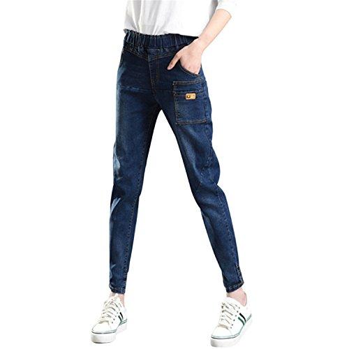 Auspiciousi 2018 Jeans de cintura alta de las mujeres Pantalones vaqueros de cintura alta Pantalones As Photo