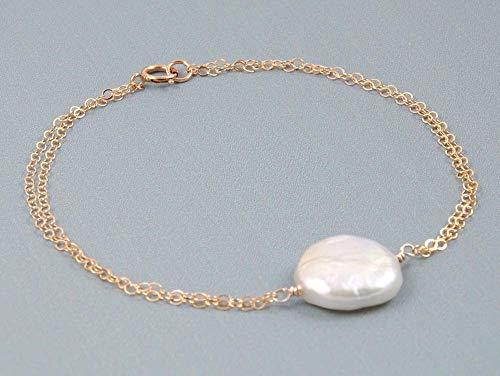 White - Peach Coin Pearl Bracelet for Women // Genuine Freshwater Pearl Jewelry (Freshwater Coin Pearl Bracelet)