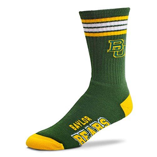 For Bare Feet NCAA 4 Stripe Deuce Crew Men Socks (Baylor Bears, Medium (5-10))
