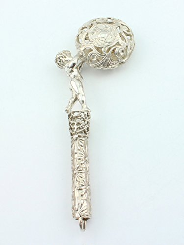 Silver Handmade Rattle ''A boy with a ball'' by Sribnyk - Gallery of Silver Art