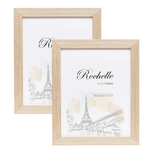 Gold Natural Pictures (8x10 Picture Frame Natural Oak Wood - 2 Pack - Mount/Desktop Display, Frames by EcoHome)