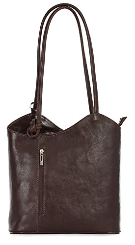 LiaTalia Womens Soft Lush Italian Leather Piping Detail Shoulder or Backpack Bag with Protective Storage Bag - Libby (Dark Tan) by LiaTalia Vera Pelle Made In Italy