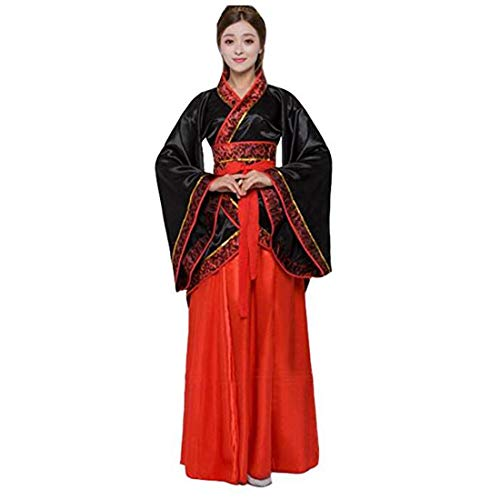 Ez-sofei Women's Ancient Chinese Traditional Hanfu Dress Han Dynasty Cosplay Costume (XL, F-black&red)