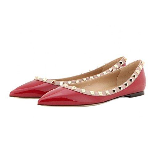 EKS Damen Spitz Flat Heels Spikes Ballerinas Schuhe Wohnungen Rot
