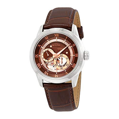 Bulova Men's Brown 96A120 BVA Series Dual Aperture Dial Watch (Patterned Round Dial)
