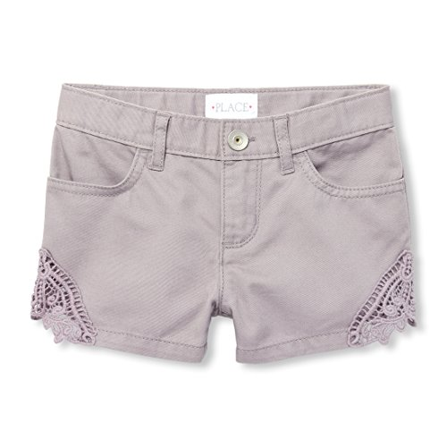 Girls' Big Crochet Trim Short, Dreamy Violet, 8 ()