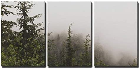 Pine Tree Forest on a Foggy Day x3 Panels