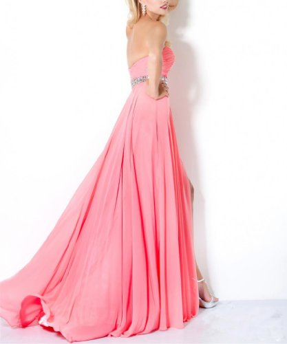 Dearta Damen Ausschnitt A Chiffon Bodenlang Aermellos Linie Rosa Abendkleider Herz Kleidungen wgTRqp7
