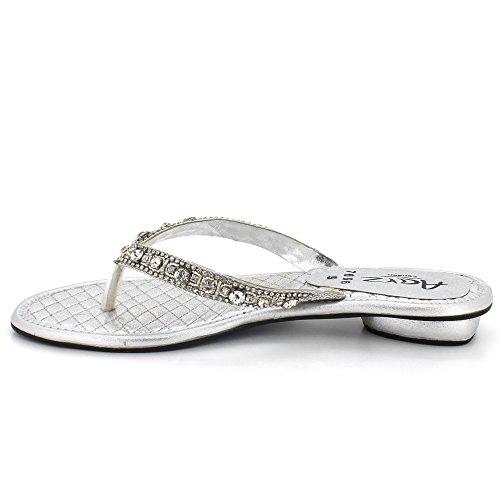 Plat Cristal Sandales Taille Soirée Talon Dames Confort Open sur Chaussures Femmes Glisser Toe Argent Diamante gw58RWq
