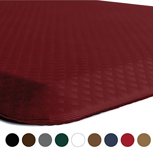 KANGAROO BRANDS Original 3/4 Anti-Fatigue Comfort Standing Mat Kitchen Rug, Phthalate Free, Non-Toxic, Waterproof, Ergonomically Engineered Floor Pad, Rugs for Office Stand Up Desk, 32x20 (Red)