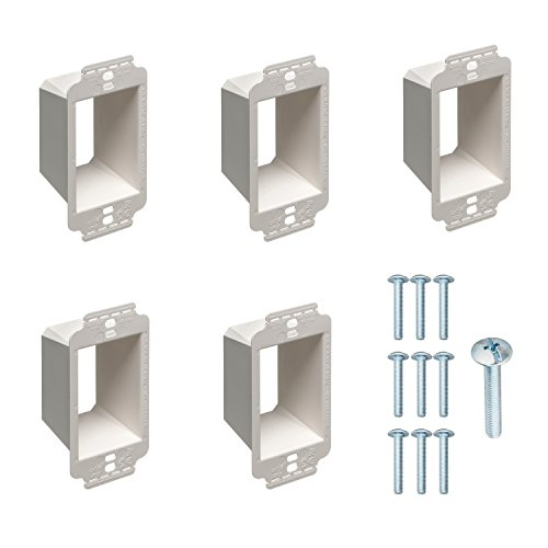 1-Gang Electrical Box Extender with Machine Screws, Kit by DoodleYolk Inc. 5-Pack Junction Box Extension, 6-32 Truss Head screws. Extra Large Arlington BE1X ring better secures wiring devices