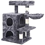 BEWISHOME Cat Tree Condo with Sisal Scratching Posts - Plush Perch - Dual Houses and Basket - Cat Tower Furniture Kitty Activity Center Kitten Play House - Smoky Grey MMJ06B