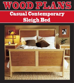 CASUAL CONTEMPORARY SLEIGH BED WOODWORKING PAPER PLAN PW10064 ()