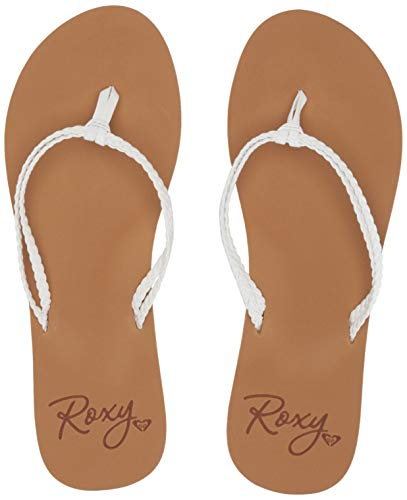 Roxy Women's Costas Sandal Flip-Flop, White, 8 Medium US (Synthetic Sandals For Women)