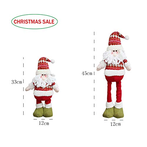 IBLUELOVER Adjustable Telescopic Christmas Fluffy Dolls Standing Figurines Large Extendable from 33cm-45cm Santa Saint Nicholas Mr. Reindeer Table Desk Tree Decorations Festival Ornaments Party Decor