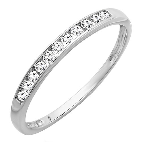 Round Diamond Anniversary Band (Dazzlingrock Collection 0.20 Carat (ctw) 10K Round Diamond Anniversary Band Stackable Ring 1/5 CT, White Gold, Size 6.5)