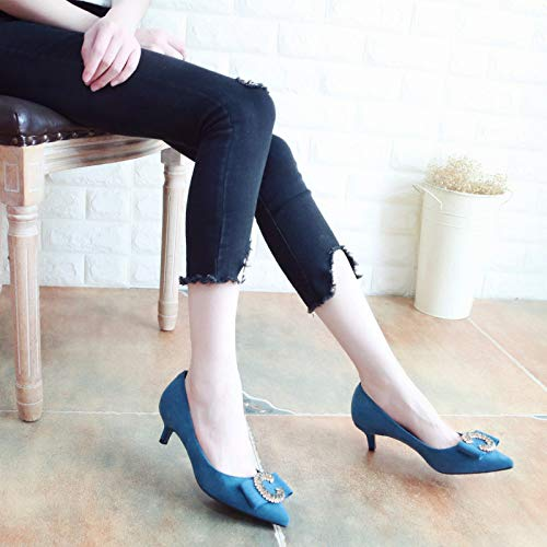 KPHY Mouth Tie Drill Autumn Nine Pointed Shoes Suede Fine Bow Middle Fashion Blue Shallow Shoes Thirty Heel TrTSwq
