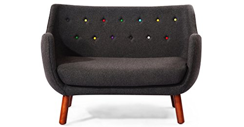 Kardiel 1946 Parlor Mid-Century Modern Sofa, Charcoal Cashmere Wool/Rainbow Buttons