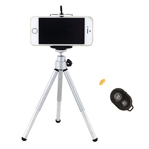 Wireless Bluetooth Remote Shutter with Mini 360 Rotatable Stand Tripod Mount and Cell Phone Clip Clamp Holder for iPhone 6 6Plus 5 5S 5C 4 4S Samsung Galaxy S2 S3 S4+ Note 2 3+ (Black)