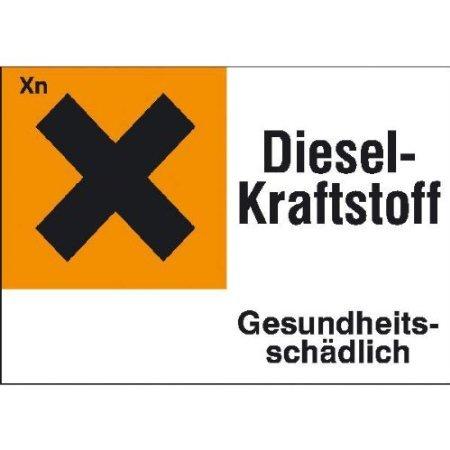 INDIGOS UG - Gefahrstoffetikett Diesel-Kraftstoff für ortsfeste Tanks, selbstklebend 29, 70x14,80 cm