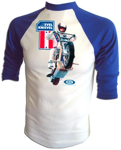 Vintage Evel Knievel 1973 Ideal Toy Company Stunt Cycle Promo Iron-On T-Shirt White (Evel Knievel Shirt)