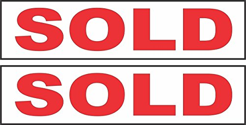 2 - 6x24 SOLD Real Estate Rider Sign Red