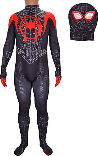 wjjoy New Into The Spider-Verse Miles Morales Unisex Cosplay Costume(Kid's L -