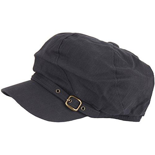 (Raon N333 Women Twist Stitch Belt Newsboy Cap Beret Cabbie Flat Golf Club Gatsby Hat (Black))