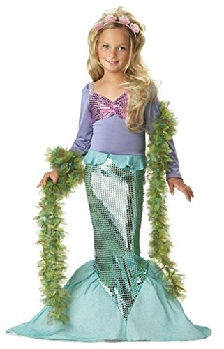 Girls Little Mermaid Princess Costume, Sequins Fancy Dress up Halloween Party (140CM(6-8T)-XXL, Green-Purple) for $<!--$18.99-->