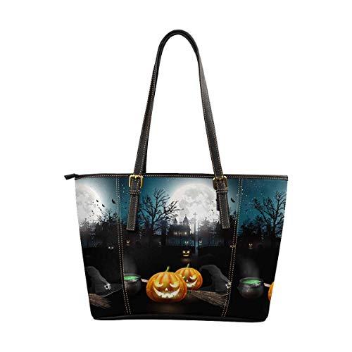 InterestPrint Women's Large Capacity Work Tote Shoulder Bag Modern Halloween Pumpkins, Pot and Broom ()