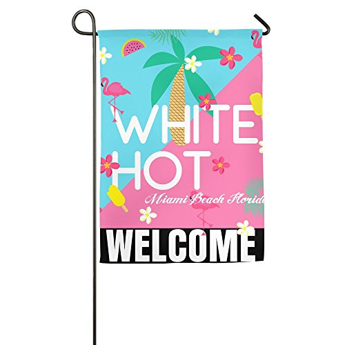 Garden Flag Demonstration Parade Flag Family Party Flag Match Flag White Hot Basketball Slogan Miami Beach Florida Garden Flag Holder Stand Funny 1827inch - Miami Shopping In Beach