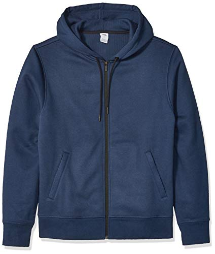 Amazon Essentials Men's Water-Repellent Thermal-Lined Full-Zip Fleece Hoodie, Navy Heather, Medium