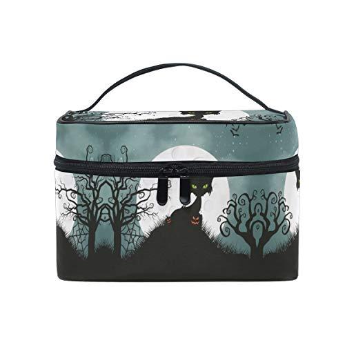 Halloween Cat Women Makeup Bag Travel Cosmetic Bags Toiletry Train Case Beauty Pouch Organizer ()