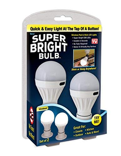 Super Bright Bulb : Portable Wireless Battery Operated Peel and Stick LED Lights; Tap, Touch, Night, Utility Light for Under Cabinet, Shed, Kitchen, Garage, Basement, White (Bulb Light Operated Battery)