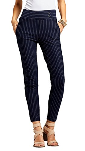 Conceited Women's Dress Pants - Slim and Bootcut - 7 Colors - by (Large, Slim Buttons Pin Stripe (Pinstripe Spandex Trousers)