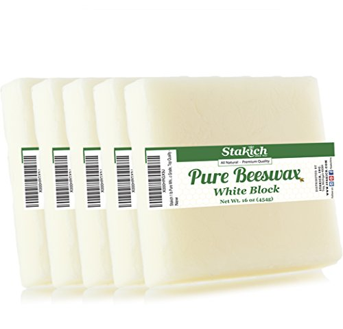 Stakich 5 lb Pure White BEESWAX Blocks (in 1-lb blocks) - Cosmetic Grade, Top Quality -