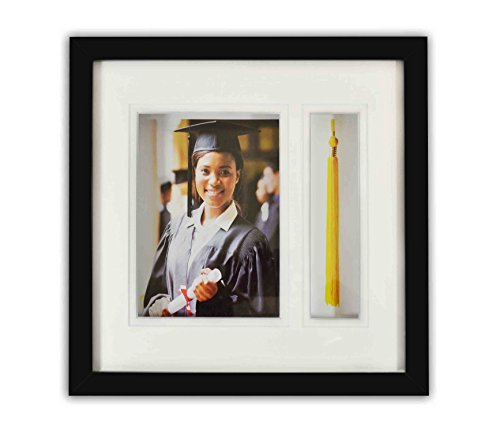 Golden State Art, 10x10 Graduation Shadow Box Frame for 5x7 Photo with Tassel Insert, Double Mat (White over White) ()