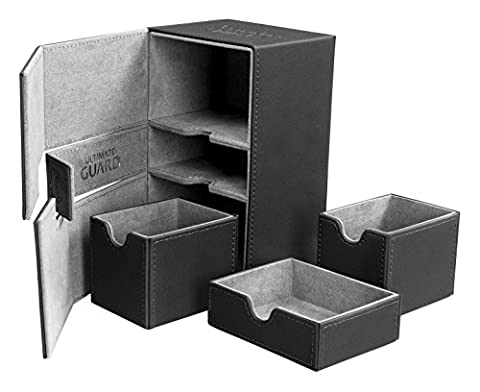 Deck Box: Twin Flip N Tray Xeno 160+ Card Game, Black - Double Deck Card Box