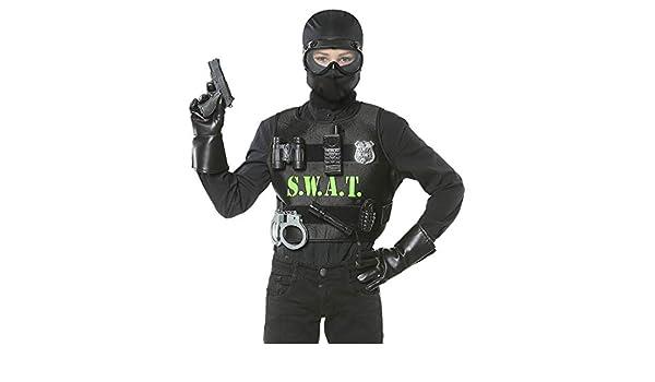 Amakando Disfraz para niño policía con Chaleco y / Negro / Traje ...