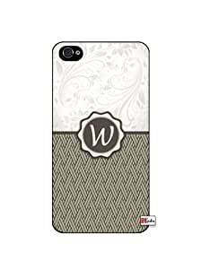 Monogram Initial Letter W Apple iphone 6 4.7 Quality Hard Snap On Case for iphone 6 4.7 - AT&T Sprint Verizon - White Case