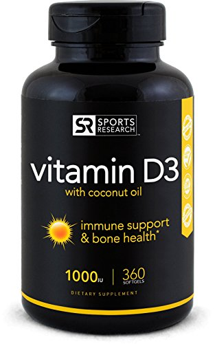 Low Potency Vitamin D3 (1000iu) enhanced with Coconut Oil for Better Absorption ~ Bone, Joint and Immune system support ~ Non-GMO & Gluten Free, 360 Mini Liquid Softgels, by Sports Research