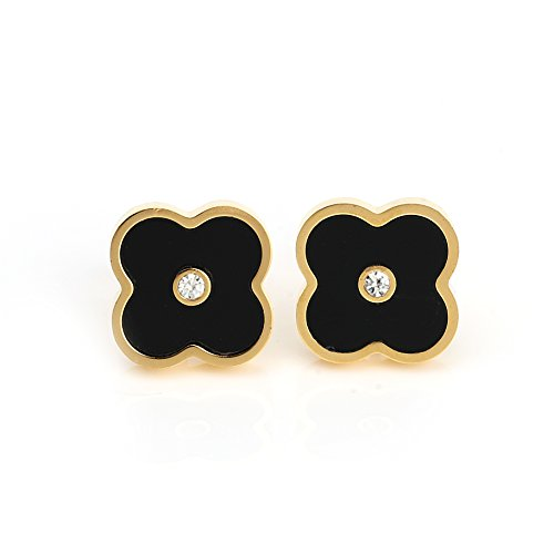 (Delicate Gold Tone Post Earrings with Contemporary Clover Design, Faux Onyx Inlay and Swarovski Style Crystal Center (160047))