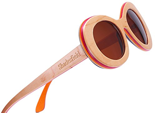Polarized Wood Sunglasses for Women and Men-100% UV Protection, 7 Colors Layer Maple Wood Frame (Beige, - Glasses Protected Uv Are Polarized