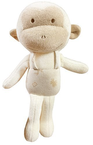 (Lovely Monkey)100% Certified Organic Cotton Fabric . Baby First Doll 11 inches (No Dyeing Natural Organic Cotton)