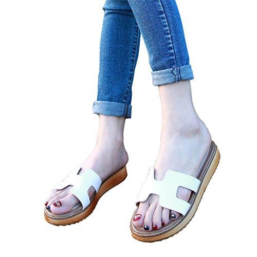 Smilun Flop Thong Strap H Gladiator Toe Lady's Sandal Wedge Flip Sandals White rtFwnIrAq