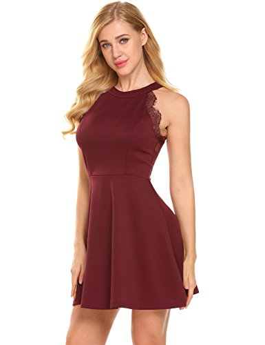 Lace Dress Wine Flare Halter Evening Neck Women Party Red Cocktail Backless Skater Bulges xnBvPEwpZn
